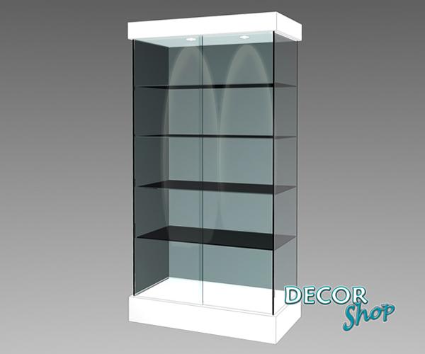1 - Vitrine sem armário, com quatro faces em vidro