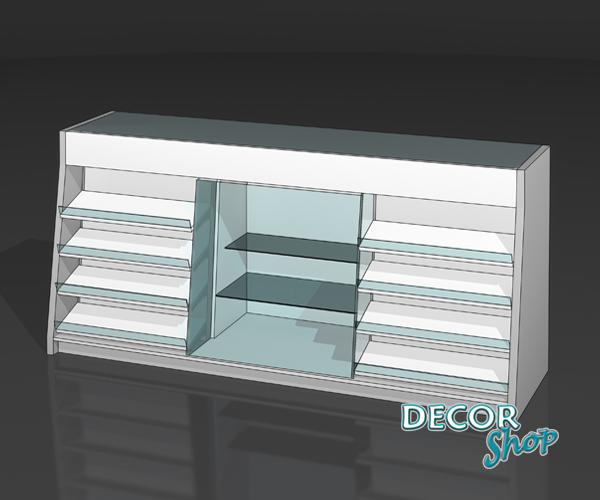 16 - Balcão da linha Arco II - 2 áreas para pastilhas + vitrine central