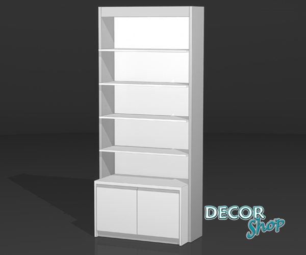 4 - Módulo com 4 prateleiras de madeira + armário