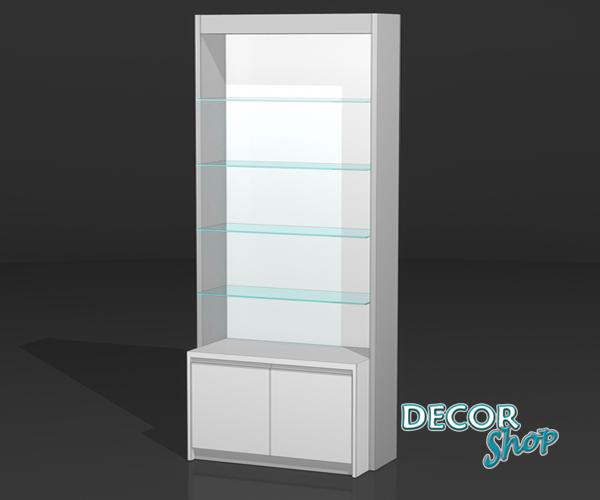 5 - Módulo com 4 prateleiras de vidro + armário