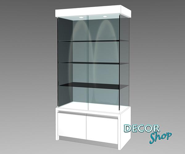 5 - Vitrine com armário com quatro faces em vidro