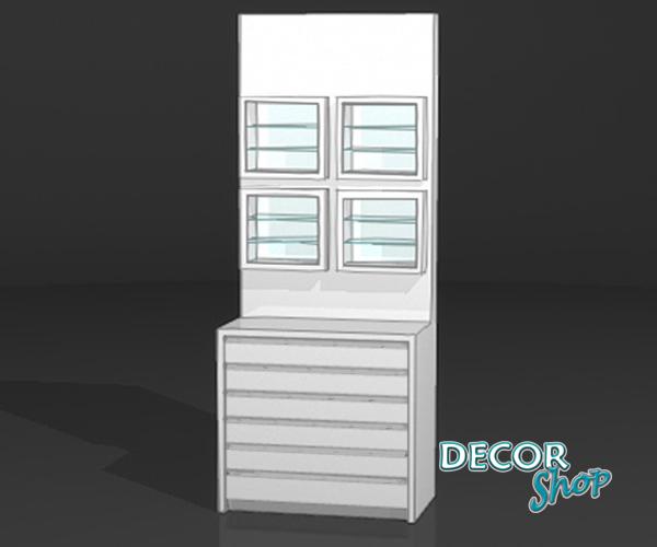 6 - Módulo com 4 expositores quadrados + armário