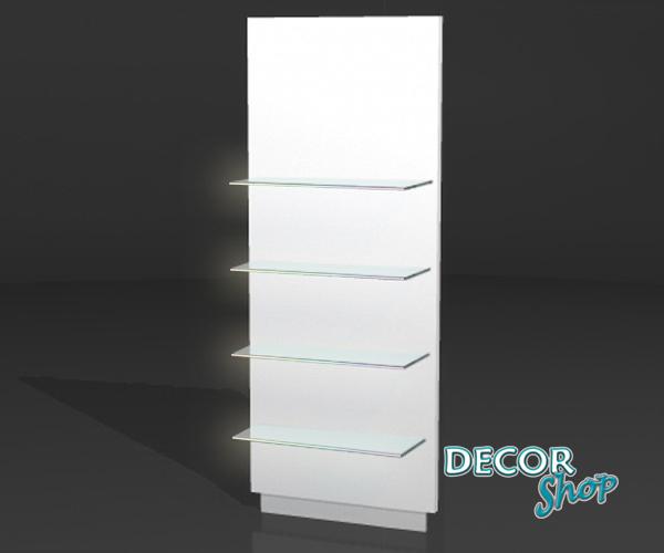 6 - Painel individual com 4 Prateleiras de vidro fixas