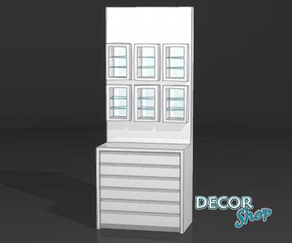 7 - Módulo com 6 expositores retangulares + armário