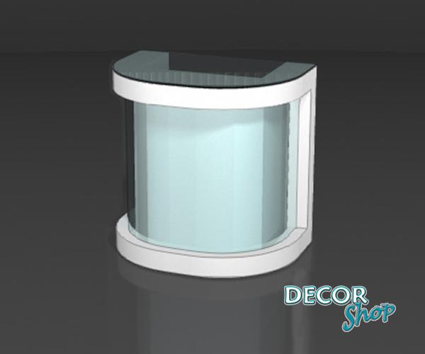 8 - Balcão caixa central frente iluminada e laterais curvas