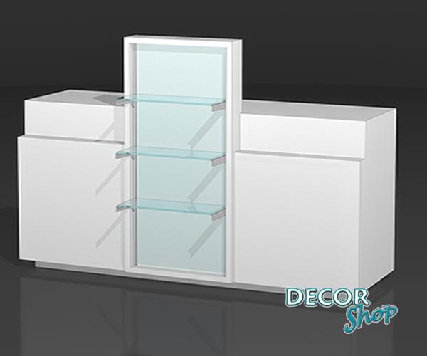 9 - Balcão 2 caixas + Expositor central com prateleiras