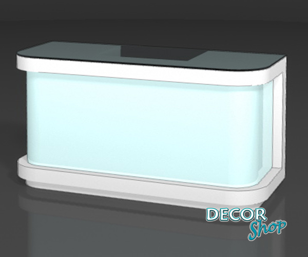 9 - Balcão caixa central frente iluminada e laterais curvas